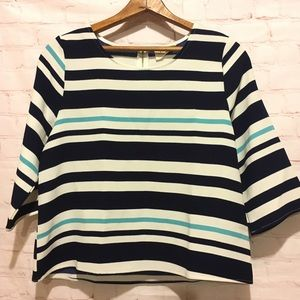 Everly blue white striped 3/4 sleeve zip back top